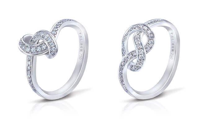 「情‧編」18K白色黃金鑲鑽石戒指